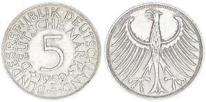 Alemania 5DM J. 387 Plata Moneda de Curso 1959G MBC