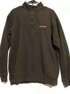 Men-s-Columbia-1-4-Zip-Brown-Fleece-Sweatshirt-Pullover-Size-Large