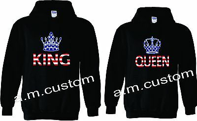 2019 King and Queen Couple matching funny cute Hood Pull Over S-2XL