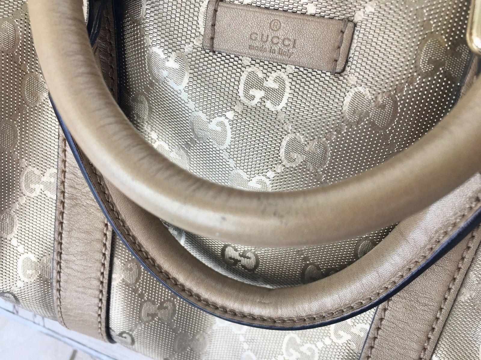 536ebb5133e Authentic Gucci GG Imprime Monogram Medium Joy Boston Champagne