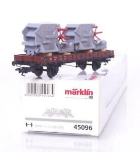 MARKLIN-45096-HO-GAUGE-3-RAIL-GERMAN-DB-LOW-SIDED-WAGON-amp-COMBINE-HARVESTERS