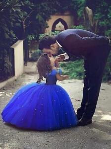 Ball Gown Off The Shoulder Royal Blue Flower Girl Dresses For Kids Wedding Gown Ebay