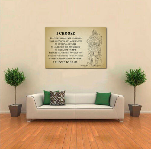 Viking Warrior Poster Motivational Inspiration Quotes Poster I Choose To Be Me