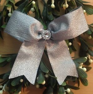 Image Is Loading Large Silver Christmas Tree Bows Wired Ribbon Garland