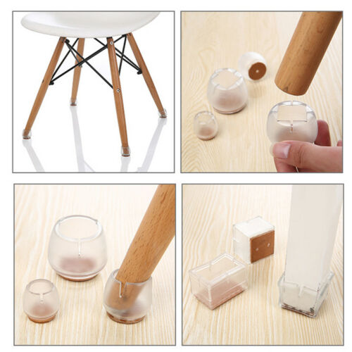 16pcs Round Silicone Chair Leg Caps Feet Pads Table Covers Wood Floor Protector