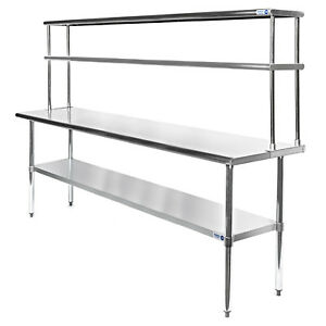 Commercial Stainless Steel Kitchen Prep Table with Double Overshelf ...