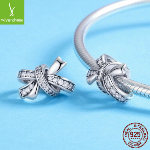 925 Sterling Silver Charm Bead Sweet Bow-knot with CZ For Girl Bracelet Jewelry