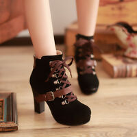 Winter Chic Women Warm Buckle Lace Up Block Lolita High Heels Ankle Boots Shoes