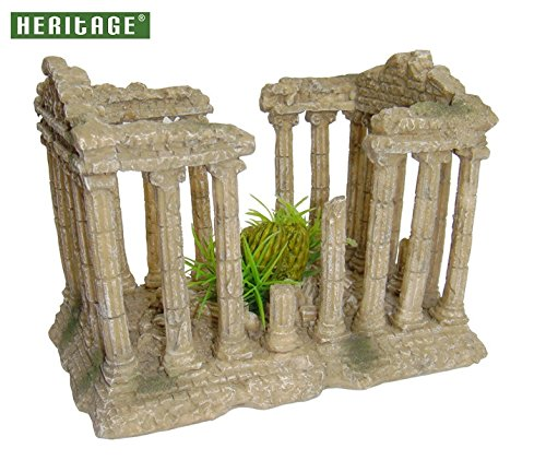 HERITAGE AQUARIUM FISH TANK ORNAMENT ROMAN TEMPLE COLUMNS RUINS DECOR DECORATION
