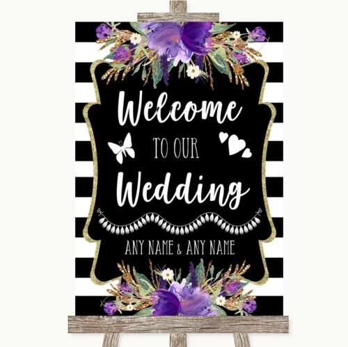 Wedding Sign Poster Print Black /& White Stripes Purple Welcome To Our Wedding
