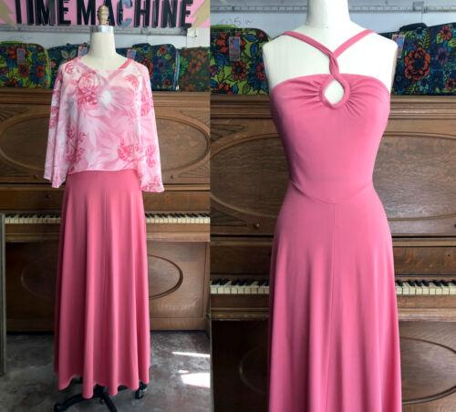 Vtg 70s Ballet Pink Draped Goddess Dress  size L