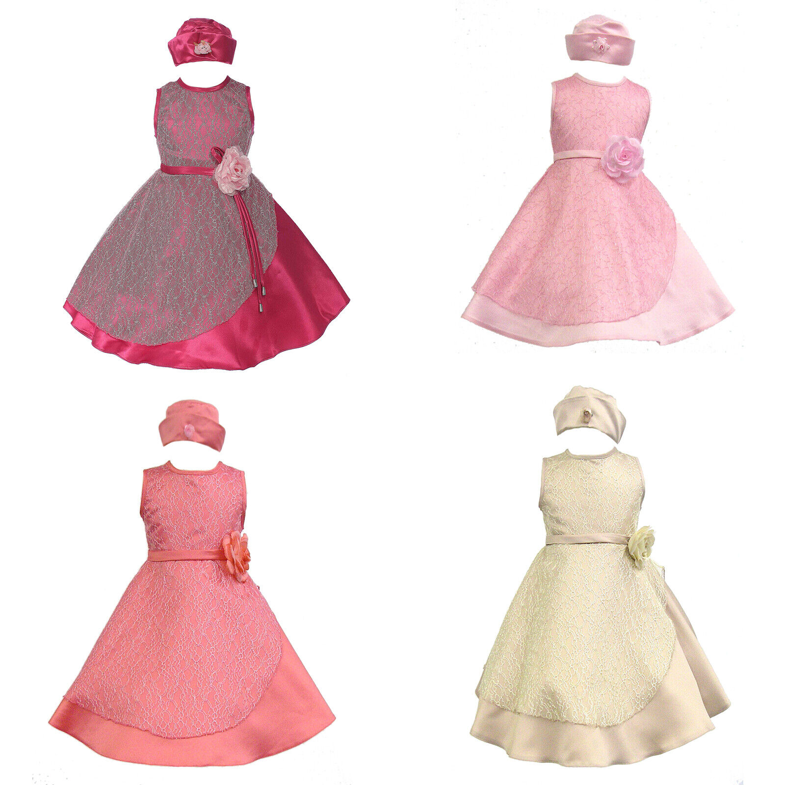 Baby Girl Toddler Pageant Easter Wedding Formal Party Coral Pink Latte Dress