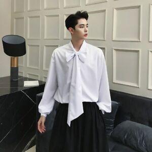 Men Gothic V-neck Shirt Punk Puff Sleeve Baggy Retro Top Fashion White Black New