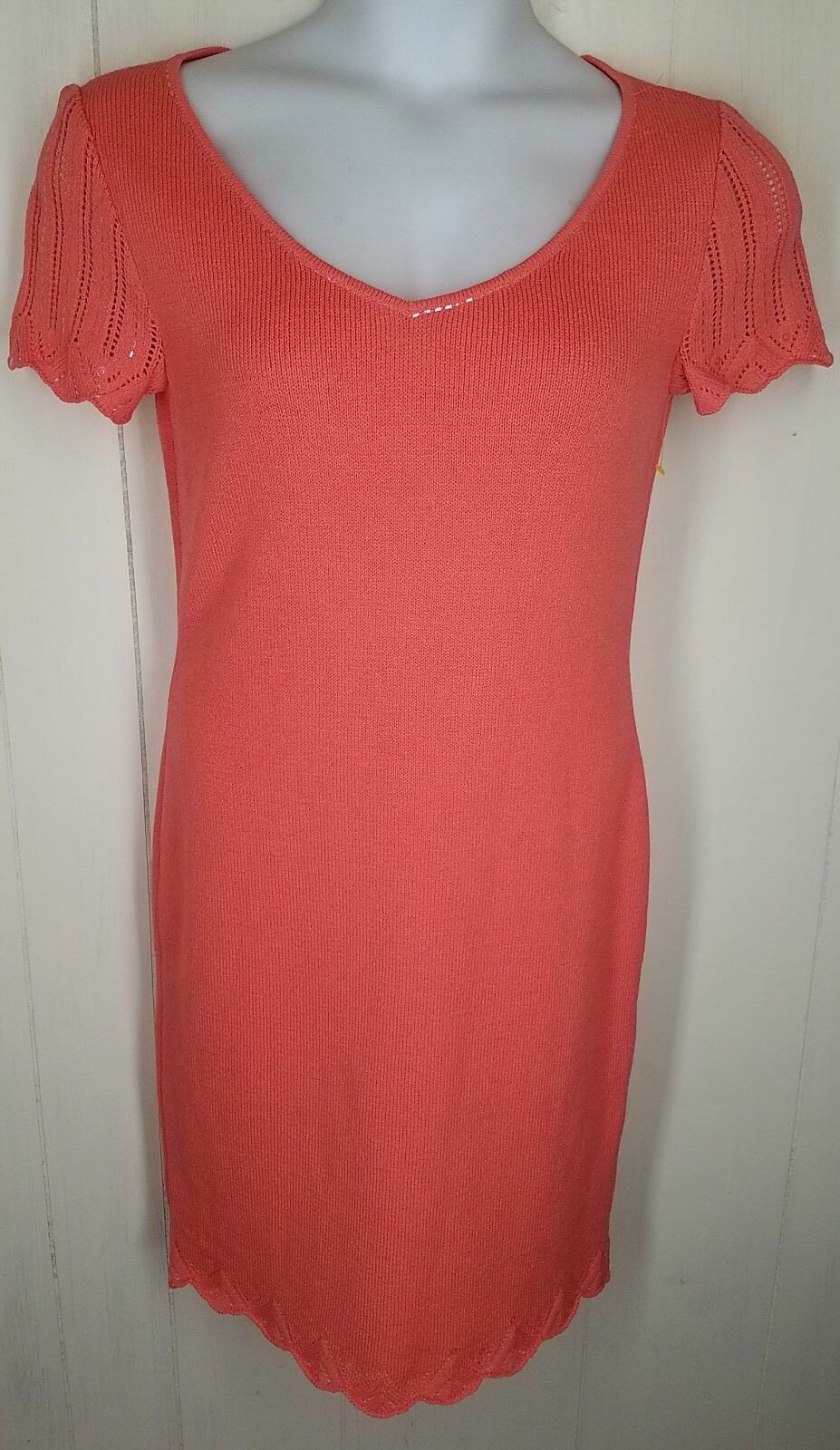 St John Evening Dress size 6 salmon cap cap cap sleeve paillettes santana knit womens d6b6f9