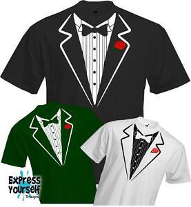 TUXEDO-T-Shirt-Fancy-Dress-Down-Simple-Smart-Party-Ball-Fun-Quality-NEW