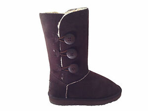 Ugg-Boots-3-Buttons-Synthetic-Wool-Colour-Chocolate-Size-5-Ladys