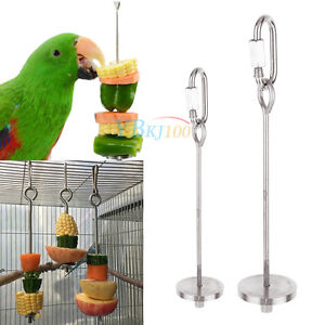 Bird parrot cage stainless steel skewer food meat stick for Bird food holder