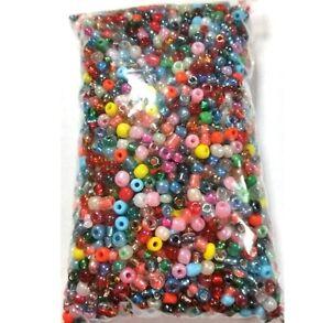Rocailles-Perlen-4mm-100g-Glas-Rund-Mehrfarbig-Opak-Silbereinzug-BEST-Z13-100g