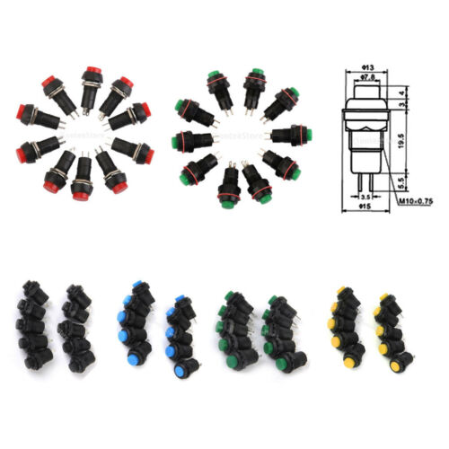 10px Car Boat Locking Dash ON-OFF Push Buttons 2-Pin Latching Switches