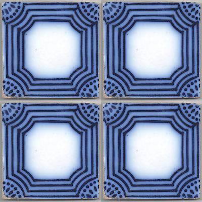 Set of 4 PAS CALAIS French original period Desvres antique tile ca.1890 blue
