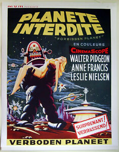 HIQ-XL-Facs-1956-034-Forbidden-Planet-034-French-Movie-Poster-36-034-x28-034-Robby-the-Robot