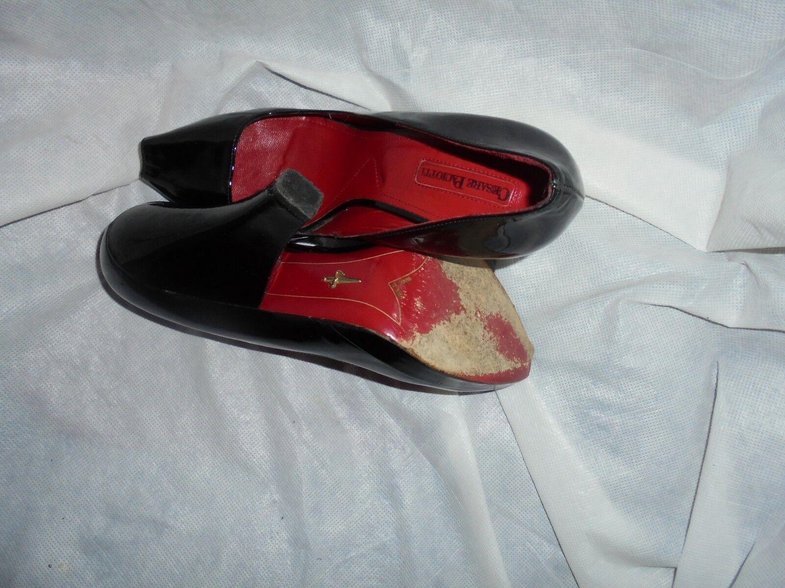 CESARE WOMEN PACIOTTI WOMEN CESARE BLACK LEATHER SLIP ON PEEP TOE Schuhe SIZE UK 6 EU 39 VGC 932897