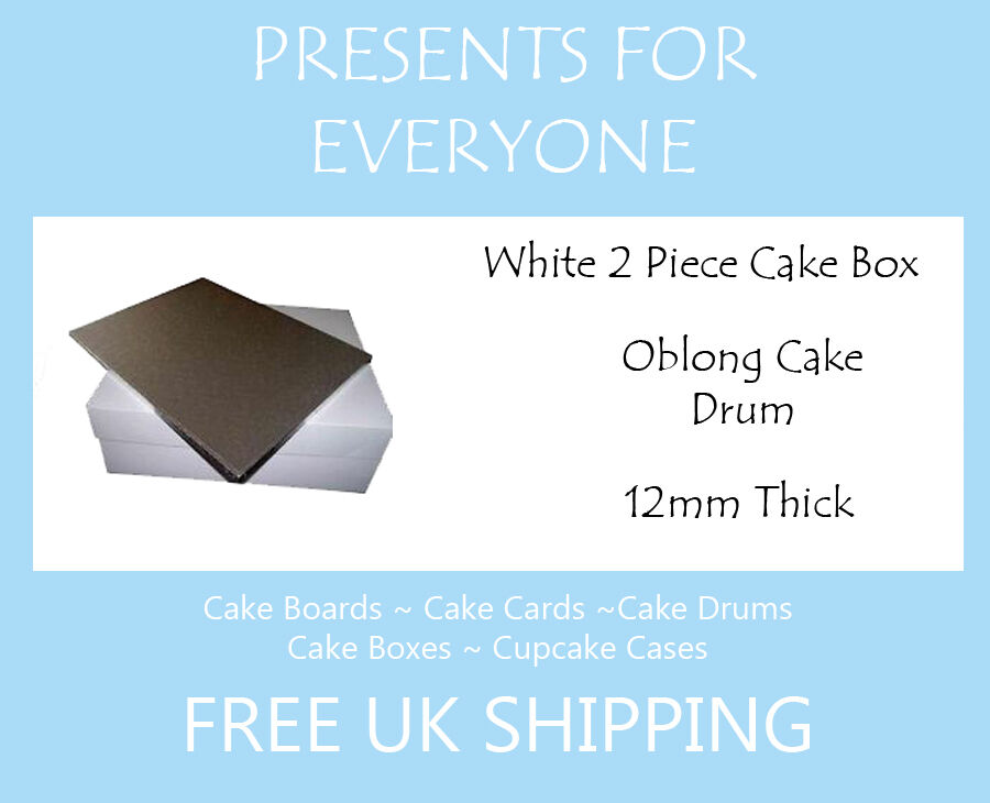 10 x 16  x 12  Inch Oblong Cake Box & 16  x 12  Rectangular Cake Drum