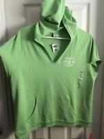 Old Navy Short Sleeve Hoodie Sweatshirt Front Pocket Xl Green, Bust 46