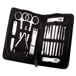 Premium-Manikuereset-15-teilig-Hautschere-Reise-und-Nagelpflege-Set-Nagelknipser