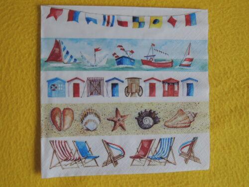5 Servietten BEACH LIFE Strand Kleine Motive Serviettentechnik maritim Schiffe M