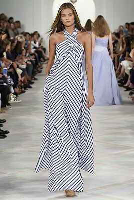 RALPH LAUREN COLLECTION Blue White Stripe Open Back Dress Jumpsuit 2