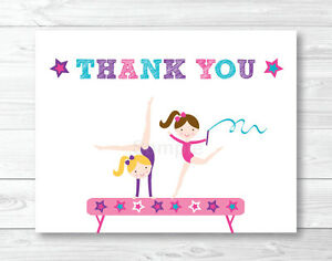Image Is Loading Gymnastics Birthday Party Thank You Card Printable