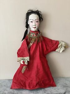 Antique Wooden Rod Puppet~asian /chinese~signed Antiques Real Hair Careful Calculation And Strict Budgeting