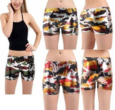Women,s Army Metallic Wet Look Camouflage Hot Pants Shiny Party Wear Shorts
