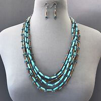 Unique Vintage Stylish Turquoise Brown Wooden Beaded Necklace With Earrings