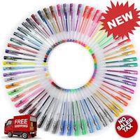60 Gel Pen Set Adult Coloring Book Deluxe Art Glitter Color More Ink