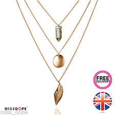 NUOVO Oro MULTISTRATO catena vintage foglia in pietra naturale collana donna UK