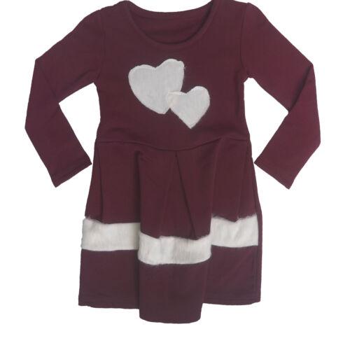 KidsGirls Love Heart Waffle Dress Multiple Ages Size Pink Grey Burgundy