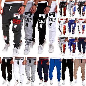Men-039-s-Hip-Hop-Dance-Pants-Sport-Sweatpants-Letter-Printed-Harem-Slacks-Trousers