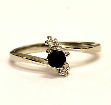 10k white gold womens diamond blue sapphire .03ct ring ladies 2g estate vintage