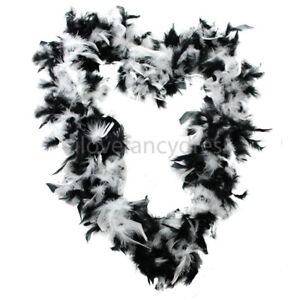 BLACK AND WHITE MIXED 65G FEATHER BOA CHARACTER FANCY DRESS COSTUME ACCESSORY
