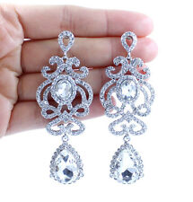 AUSTRIAN CRYSTAL RHINESTONE DANGLE DROP WHITE CHANDELIER EARRINGS BRIDAL E12169