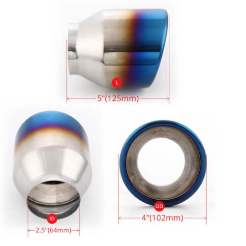 """2.5/"""" Inlet Blue Burnt Exhaust Tailpipe Tip 4/"""" Rolled Out Slant Cut 5/"""" Long SS304"""