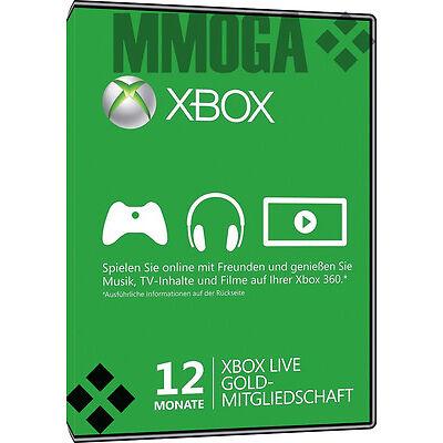 12 Monate Microsoft Xbox Live Gold Mitgliedschaft Card MS Xbox One & Xbox 360