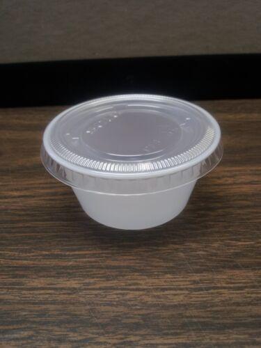 SOLO 2oz PLASTIC DISPOSABLE PORTION CUP//LID 200 CUPS OR 200 LIDS SAUCES//WEDDINGS