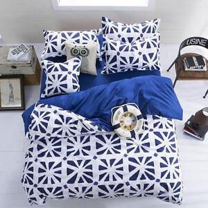 Blue-White-Single-Double-Queen-King-Nice-Bed-Set-Pillowcases-Duvet-Quilt-Cover-O