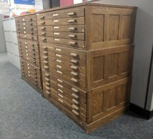 Image Is Loading Vintage Wooden Hamilton Flat File Cabinet 37c Oak