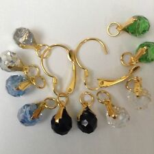 5Pairs Crystal earring charms 2Pcs Interchangeable Lever back Gold Plate Jewelry