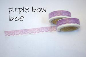 Angoo-Masking-Tape-Washi-Deco-Paper-Tapes-Pattern-Purple-Bow-Lace