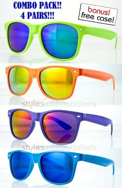 7decf927ff24 4 Pairs Lot Neon Retro Frame 80s Party Sunglasses Fire Blue Mirror ...